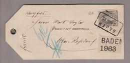 CH Heimat AG Baden 1882-08-03 Wertpaketanhänger Nach Ober-Rohrdorf Mit Stehende H. 40Rp. Zu#69A - Briefe U. Dokumente