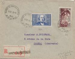 Nancy : Chomeurs Intellectuels N°462 + 464 Sur Enveloppe Recommandée, Au Tarif, 1941. - 1921-1960: Periodo Moderno