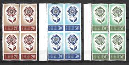 Chypre Europa 1964 N° 232/234 En Blocs De 4 Neufs ** MNH. TB. A Saisir! - Unused Stamps