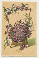 Carte Fantaisie Gaufrée (embossée) - Fleurs Violettes - Petits Brillants - Souhaits De Bonheur.. - Sin Clasificación