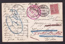 France: Picture Postcard To Austria, 1906, 1 Stamp, Forwarded Via Switzerland, Postage Due?, Lady (small Ink Stain) - Lettres & Documents