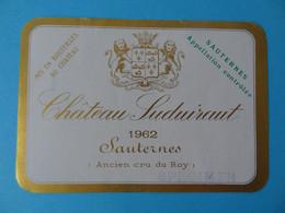 Etiquette Neuve Château Suduiraut 1962 Sauternes Spécimen - Bordeaux