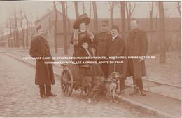 FOTOKAART CAMP DE BEVERLOO CHAUSSEE D'HECHTEL, MILITAIRES, DAMES NOTABLES / HONDENKAR / ATTELAGE A CHIENS, ROUTE DU TRAM - Leopoldsburg (Camp De Beverloo)