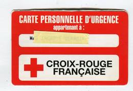 Carte De Visite °_ Carton-Carte Personnelle D'Urgence-Croix.Rouge Française-encart - Visiting Cards
