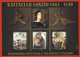 Italia 2020; Raffaello Sanzio, Nel V Centenario Della Scomparsa, Foglietto Con 4 Valori: Tariffa B  Zona2 50g - 2011-...:  Nuovi