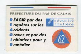 Carte De Visite °_ Carton-Préfecture Du Pas De Calais-Réagir - Visiting Cards