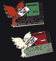 71532-Lot De 2 Pin's-le Groupe Sirandré Conçoit Et Produit Des Boîtes Aux Lettres.tourterelle. - Animali