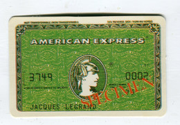 Carte De Visite °_ Carton-Specimen Bancaire-brillante-American Express-Legrand-3479 - Visiting Cards