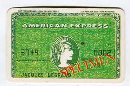 Carte De Visite °_ Carton-Specimen Bancaire-mate-B-American Express-Legrand-3479 - Visiting Cards