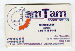 Carte De Visite °_ Carton-TamTam-Sonorisation-Michel-32 Auch - Visiting Cards
