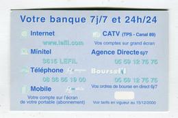 Carte De Visite °_ Carton-Votre Banque 7j.7-24 H.24-Tarifs 2000-64 Nay - Visiting Cards