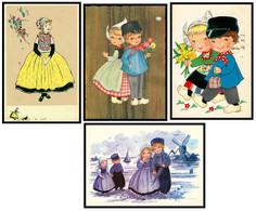 4 Cp - Fantaisie - Enfants - Hollandais - Hollande - Moulin - Molen - Fillette Et Garçon - Folklore - Fleurs - Verzamelingen & Reeksen