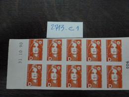 CARNET N°006 YT N°2713-C1 LETTRE D ROUGE-COIN DATE DU 31/10/1990- AUTOADHESIF PREDECOUPE A DROITE- MARIANNE DE BRIART - Definitives