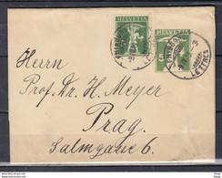 Brief Van Fribourg Lettres Naar Prag (Tsjechië) - Briefe U. Dokumente