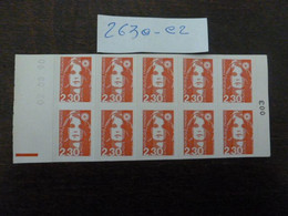 CARNET N°003 YT N°2630-C2 (2,30fr)-COIN DATE 02/08/1990-REPERE ELECTRONIC-AUTOADHESIF-PREDECOUTE DROITE- MARIANNE BRIART - Definitives