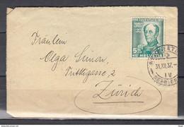 Brief Van Zwitserland Naar Zurich - Briefe U. Dokumente