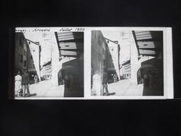 VUE STEREOSCOPIQUE SUR VERRE (M2105) FRANCE LAC D'ANNECY Années 50 (3 Vues) Les Arcades - Stereoscopio