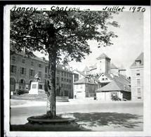 VUE STEREOSCOPIQUE SUR VERRE (M2105) FRANCE ANNECY Années 50 (3 Vues) Vue D'Annecy - Le Château - Stereoscopio