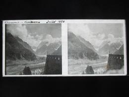 VUE STEREOSCOPIQUE SUR VERRE (M2105) FRANCE CHAMONIX Années 50 (3 Vues) Montenvers - Stereoscopio