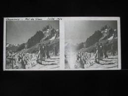 VUE STEREOSCOPIQUE SUR VERRE (M2105) FRANCE CHAMONIX Années 50 (3 Vues) Mer De Glace A - Stereoscopio