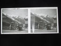 VUE STEREOSCOPIQUE SUR VERRE (M2105) FRANCE CHAMONIX Années 50 (3 Vues) Le Village A - Stereoscopio