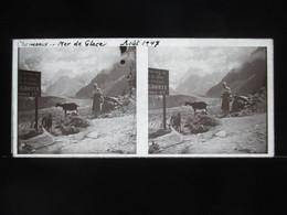 VUE STEREOSCOPIQUE SUR VERRE (M2105) FRANCE CHAMONIX Années 50 (3 Vues) Mer De Glace C Panneau Grotte Entrée 25f - Stereoscopio