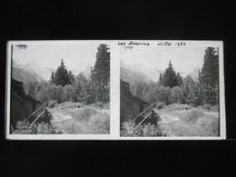 VUE STEREOSCOPIQUE SUR VERRE (M2105) FRANCE CHAMONIX Années 50 (3 Vues) Les Bossons - Stereoscopio