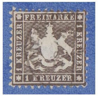 ALLEMAGNE --GERMANY -- WURTEMBERG -- 1 Kreuzer Sépia -- Dentelé 10 -- - Wurtemberg