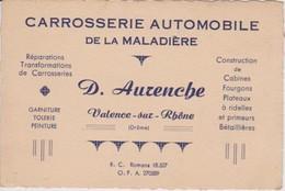 Carte De Visite De D.AURENCHE Valence Sur Rhône Drôme Carrosserie De La Maladière - Visiting Cards