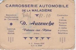 Carte De Visite De D.AURENCHE Valence Sur Rhône Drôme Carrosserie De La Maladière De 1949 - Visiting Cards