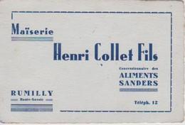 Carte De Visite De Henri Collet & Fils Maïserie Aliments Sanders à Rumilly Haute Savoie - Visiting Cards