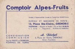 Carte De Visite De Comptoir Alpes Fruits Place Sainte Claire à Grenoble Isère - Visiting Cards