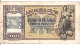 ALBANIE 100 FRANGA ND1939-40 VG+ P 8 - Albanie