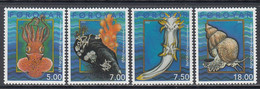 2002 Faroe Islands Marine Life Snails EMBOSSED GOLD  Complete Set Of 4 MNH @ BELOW FACE VALUE - Vita Acquatica