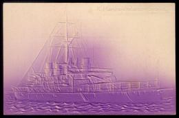 SHIP SICILIA Marina Italiana IRONCLAD. Old Postcard Embossed Royal Navy ITALY. CPA Gaufree ITALIA TURKEY WAR - Warships
