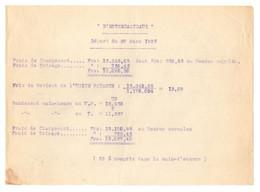"""Relevé Des Frais De Chargement Et De Toisage Du Vapeur """"D'Entrecasteaux"""" Départ 28 Mars 1935 - Format : 21x15 Cm - Boten"""