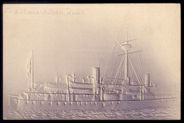 SHIP DUILIO Marina Italiana IRONCLAD. Old Postcard Embossed Royal Navy ITALY. CPA Gaufree 1900 Italia - Warships