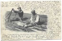 13 Types Marseillais - Pêcheurs Réparant Leurs Filets - Cachet PAQUEBOT + BM  +  PORT SAID EGYPTE 8 AOUT 1902 - Old Professions