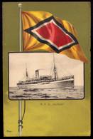 Ship R.P.D. KURFURST Battleship W/flag Deutsche Ost-Afrika Linie / German East Africa Line. Old Postcard 1900 - Warships