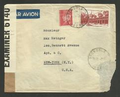 15F Beaune & 1F Petain / Lettre Avion >>> USA / GRENOBLE 03.11.1942 / Bande De Censure - 1921-1960: Moderne