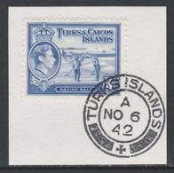 Turks & Caicos Islands 1938 KG6 Raking Salt 3d Bright Blue  SG 200 With Madame Joseph Forged Postmark Type 427 - Turks- En Caicoseilanden