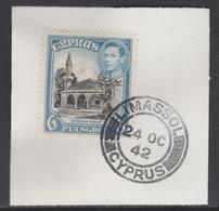 Cyprus 1938-51 KG6 Bayraktar Mosque 6pi Black & Blue SG 158 With Madame Joseph Forged Postmark Type 137 - Chypre (...-1960)