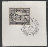 Turks & Caicos Islands 1938 KG6 Raking Salt 1/4d Black  SG 194 With Madame Joseph Forged Postmark Type 427 - Turks- En Caicoseilanden