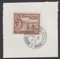 Turks & Caicos Islands 1938 KG6 Raking Salt 1d Red-brown  SG 196 With Madame Joseph Forged Postmark Type 427 - Turks- En Caicoseilanden