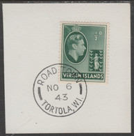 British Virgin Islands 1938-47 KG6 Badge Of Colony 1/2d Green With Madame Joseph Forged Postmark Type 434 - British Virgin Islands