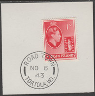 British Virgin Islands 1938-47 KG6 Badge Of Colony 1d Scarlet With Madame Joseph Forged Postmark Type 434 - British Virgin Islands