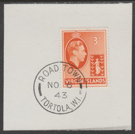 British Virgin Islands 1938-47 KG6 Badge Of Colony 3d Orange With Madame Joseph Forged Postmark Type 434 - British Virgin Islands
