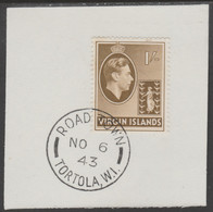 British Virgin Islands 1938-47 KG6 Badge Of Colony 1s Olive-brown With Madame Joseph Forged Postmark Type 434 - British Virgin Islands