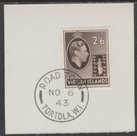 British Virgin Islands 1938-47 KG6 Badge Of Colony 2s6d Sepia With Madame Joseph Forged Postmark Type 434 - British Virgin Islands