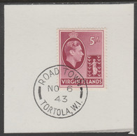 British Virgin Islands 1938-47 KG6 Badge Of Colony 5s Carmine With Madame Joseph Forged Postmark Type 434 - British Virgin Islands